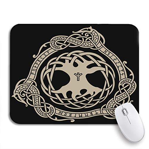 COFEIYISI Mauspad,Office Mauspad(240 * 200mm),Yggdrasil des Raben in keltischen skandinavischen und nordischen Runen,Rutschfeste Mousepad Matte für PC