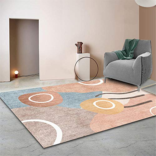 Xiaosua Dust-Proof does not hurt the floor Rugs Simple abstract cartoon geometric graffiti pattern living room bedroom decorative carpet durable Coffee Table Rugs brown 200x280cm