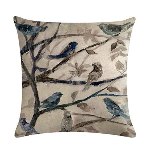 Weryffe - Funda de cojín con diseño de Hojas y pájaros de Lino, Diseño 1, 45 * 45 cm