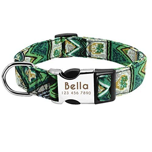 N\C Collar de perro personalizado de nylon personalizado Collar de etiqueta de perro ajustable grabado cachorro gato placa de identificación I D collares para perros pequeños grandes