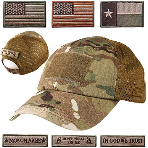 Lightbird Mesh Tactical Hat with 6 Patch,Operator OCP Flag Cap Hat (Multicam)