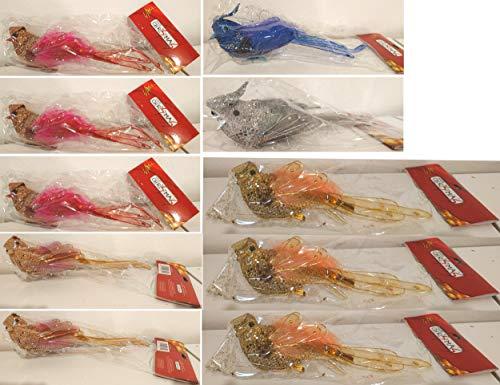 Decoratieve vogels, 22 cm, verschillende kleuren, 10 stuks