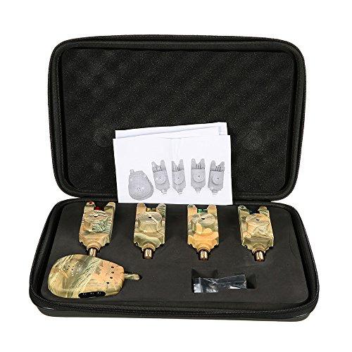 Lixada Alarma de Pesca Inalámbrico LED 4 Alarmas de Mordida de Pesca + 1 Receptor con Caja