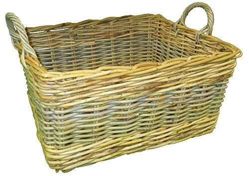 2 Tone Rectangular Wicker Basket - Medium Size - Kindling or Storage