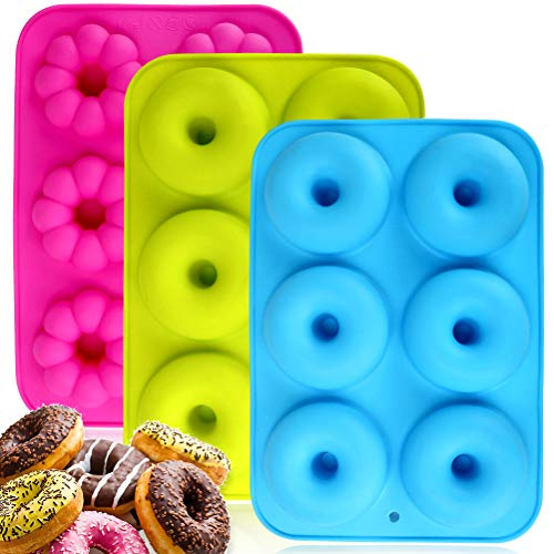 Silicone Donuts Baking Pan Set of 3, Non-stick Round and Flower Donut Molds, Durable Kitchen Accessories for Cake Biscuit Bagels Muffins (6 Cavity)