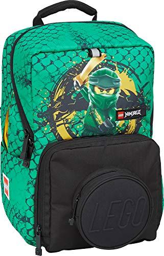 Lego Bags Madsen, zaino per la scuola, solo 640 g, con motivo Lego Ninjago verde, borsa per libri ca. 35 x 23 x 24 cm, 15 litri, zaino per la scuola con scomparto per tablet e Brick 1 x 1, verde
