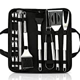 Number-one Grilling Accessories BBQ Tools Set, 20pcs Heavy Duty Stainless Steel BBQ Grill Tool kit with Non-Slip Handle & Storage Bag for Outdoor Cooking Camping Barbecue Utensil-Best Grill Gift
