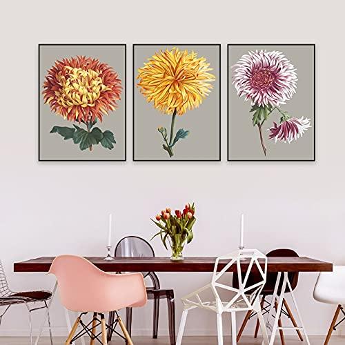 JHGJHK Exquisita y Hermosa Pintura de crisantemo Arte de la Pared Pintura en Lienzo galería Carteles e Impresiones Sala de Estar Cocina Interior decoración del hogar