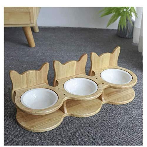 UNU_YAN Moderna Simplicity Safe Food Bowl Alimentatore rialzato, ciotole per animali in ceramica alzato Pet Dog Cat Nutrire Cat Water Bowl, Bamboo Allevato Stand Pet Feeder Perfetto per cani da cani p