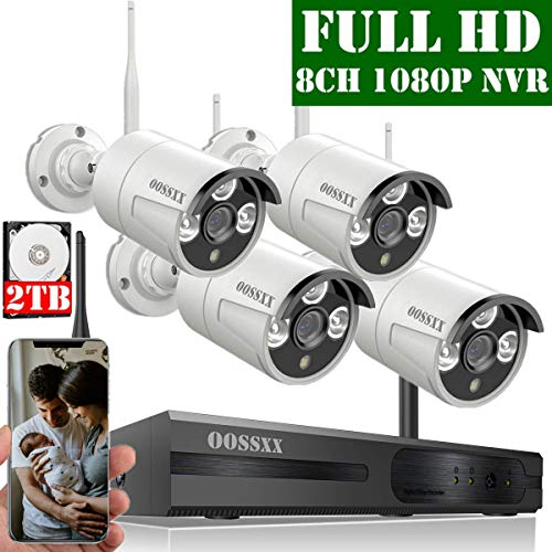 【2020 Update】 OOSSXX 8-Channel HD 1080P Wireless Security Camera System,4Pcs 1080P Wireless Indoor/Outdoor IR Bullet IP Camera with One-Way Audio,P2P,App, HDMI Cord & 2TB HDD Pre-Install