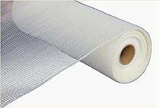 Two Tone Deco Poly Mesh Ribbon - 10 Inches x 10 Yards (Cream, White)