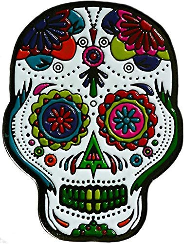 Be The Ball 4U Extravanganza Flores Dia De Los Muertos Cool Skull Mask Designs Dawn of The Dead Golf Ball Marker and Matching Red Rose Hat Clip