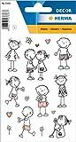 HERMA 3336 Aufkleber 'Strichmännchen' aus Papier, selbstklebende Sticker für Jungen, Mädchen, Kleinkinder und Geburtstage, 24 Love-Aufkleber für Kinder