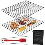 E-More Griglia di Cottura,2 pacchi Sostituzione Barbecue in Acciaio Inox Griglie per grigliate con supporto per griglia,spazzola e custodia,per esterno Giardino Campeggio Viaggio Escursionismo,40x30cm