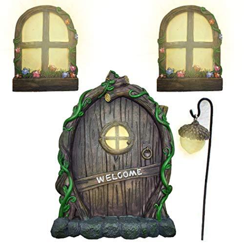 Fairy Garden Door Fairy Windows for Trees Glow in The Dark Yard Art Sculpture Decoration for Outdoor...