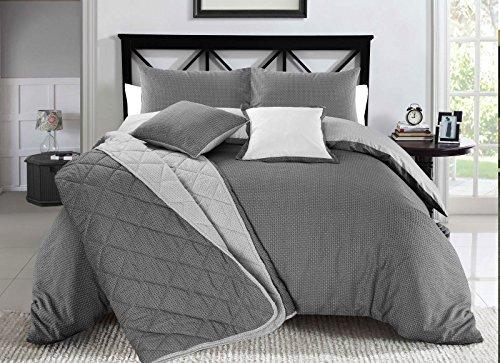 Nimsay Home - Set copripiumino e federa per cuscino Christian, stampa stile geometrico in bianco e nero, reversibile, Black/White, Doppio
