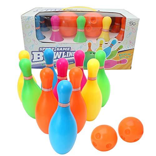 Twiddlers Bowling Kegelspiel Kinder Set - 10 Pin 2 Bälle - Drinnen draußen Garten Spielzeuge, Frühes Lernen, Gastgeschenke für Jungen Mädchen Kinder - Spielzeug Geburtstags Geschenke