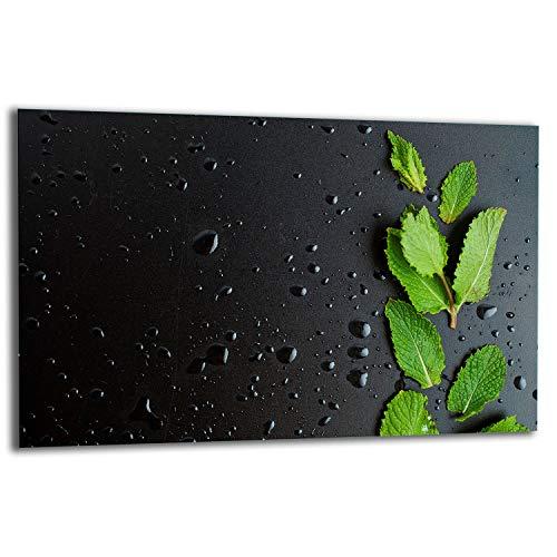 TMK | Placa de 80 x 52 cm 1 pieza para cubrir la vitrocerámica, protección contra salpicaduras, placa de cristal, decoración para cortar, negro menta