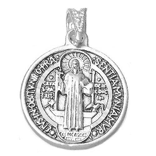 Medalla Plata Ley 925M San Benito 19mm. Redonda Cerco Talladas Ambas Caras