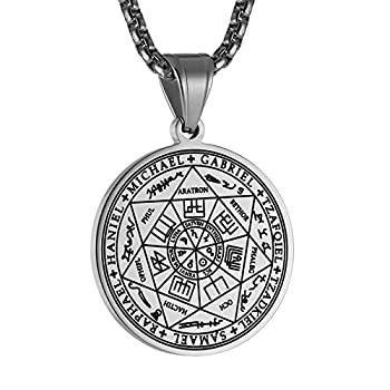 """HZMAN Vintage Stainless Steel The Seal of The Seven Archangels Pendant Necklaces 22+2"""" Chain  Silver-1"""