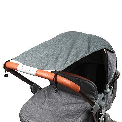 Fengzio Universal Sonnensegel für Kinderwagen/Babywanne UV Schutz Beschichtung 50+ Sonnenschutz für Babys Sonnensegel mit Tasche - Dunkelgrau