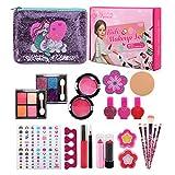 LinStyle Maquillaje Niñas Set, 24 PCS Kit de Juguete de Maquillaje Lavable, Juguetes Niña 3 4 5 Años, Regalo de Princesa para Niñas en Fiesta, Cumpleaños, Navidad