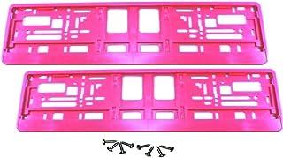 2 Stück Kennzeichenhalter   PINK   inklusive 8 Schrauben   Premiumqualität!   Satz