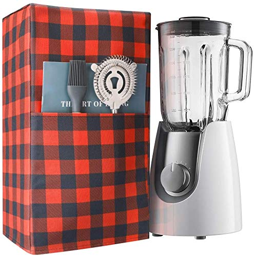 Blender Cover with Accessory Pocket,Buffalo Plaid Kitchen Appliances Dustproof Cover,Dust and Fingerprint Protection,Gift Idea For Mom, 7x9x16.5 Inches
