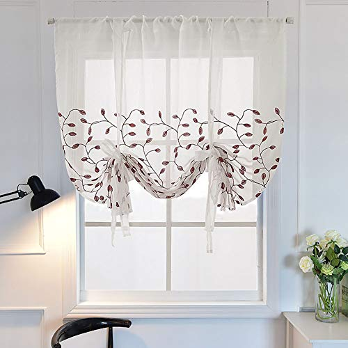 1 stuk Romeinse gordijnen Adorable Tab Top Semi Sheer Window Balloon Curtain Hoogte verstelbaar met Tie Up voor Kitchen Balcony Bathroom