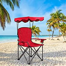 Waterjoy Canopy Stool, Portable Folding Beach Chair with Canopy, Outdoor Sunshade Camping Canopy Chair, Park Picnic Chair with Two Cup Holders and Bags Red