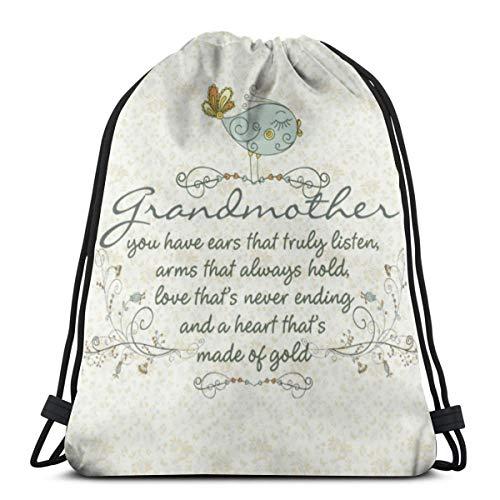 NA Kordelzug-Rucksack, Großmutter, Gedicht mit Vögeln, tragbarer Sack, Aufbewahrungstasche für Camping, Wandern, Schwimmen, Einkaufen, Wandern, Reisen, Strand