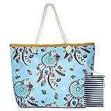 Comius Sharp Bolsa de Playa Grande Rayas Azules Bolsa de Playa de Lona Bolsos de Mano Shopper Bolsa de Playa Bolsas de Viaje con Cremallera para Mujeres y Niñas (Dreamcatcher)
