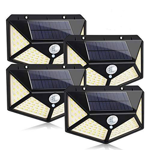Solar Lights Outdoor 100 LED Solar Wall Light with 3 Mode 270° Wide Angle Motion Sensor Lights IP65 Waterproof Wireless Security Wall Night Light for Patio Garden Yard Garage Porch Fence Stair(4 Pack)