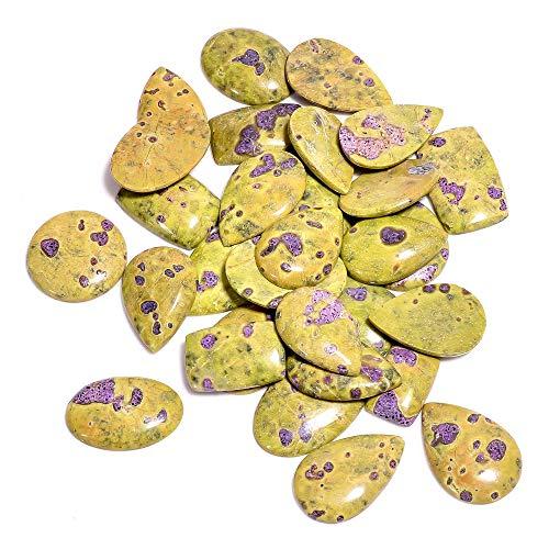 Gemkora 5pcs Atlantisite Stichtite Gemstone Wholesale Cabochons Lot, Jewelry Making Loose Gemstone, Polished Home Decor, DIY, Wire Wrapping, Reiki, Healing Crystals, Bulk Gemstone Deal 100 carats