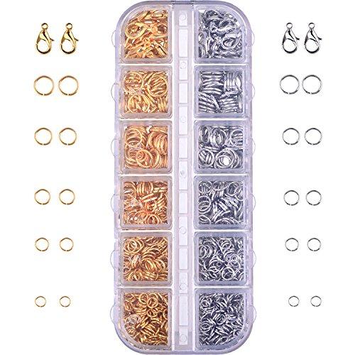 Kit de Accesorios de Joyería Cierres de Langosta y Anillos de Salto para Fabricación de Joya, 1104 Piezas
