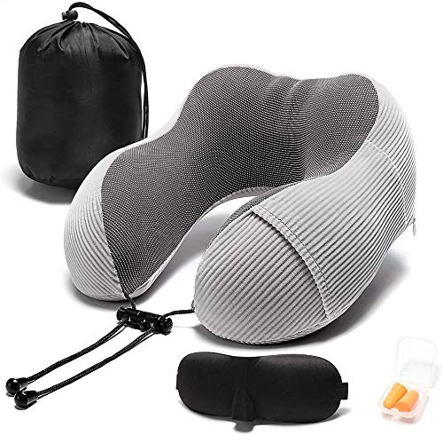 Jiu Reisekissen-Für Erholsamen Schlaf in Einem Flugzeug, Bewegliche Schlafmittel U-förmige Kissen, Cool Plane Zubehör for Langstreckenflüge Jiu (Color : Gray)