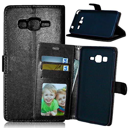 JEEXIA® Funda para Samsung Galaxy Grand Prime (G530 / G5308), Moda Business Flip Wallet Case Cover PU Cuero con Soporte Cubierta Protectora - Negro