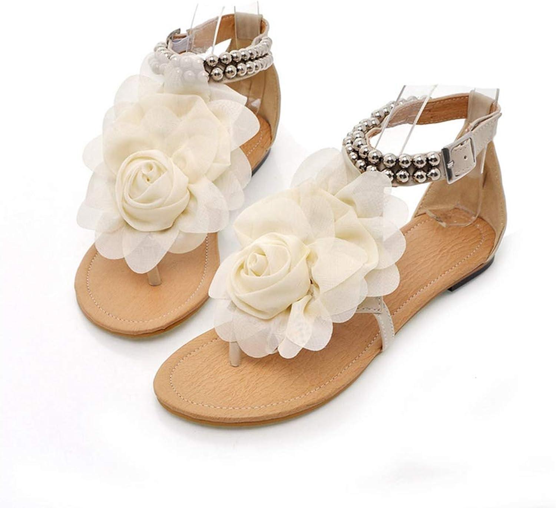 Gladiator Sandals Women Bohemia, Beaded Summer Flower Flat Heels Flip Flops Women's shoes T-Straps Sandals Big Size 35-43,White,5.5US
