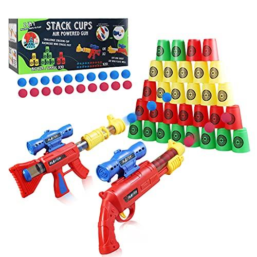FORMIZON 2 Piezas Pistola Juguete para Niños, Pistola de Juguete con Bola de Espuma con Objetivo de Tiro de Pie, Kit De Disparos Pistola de Juguete para Exteriores para Niños Regalos (Copa de
