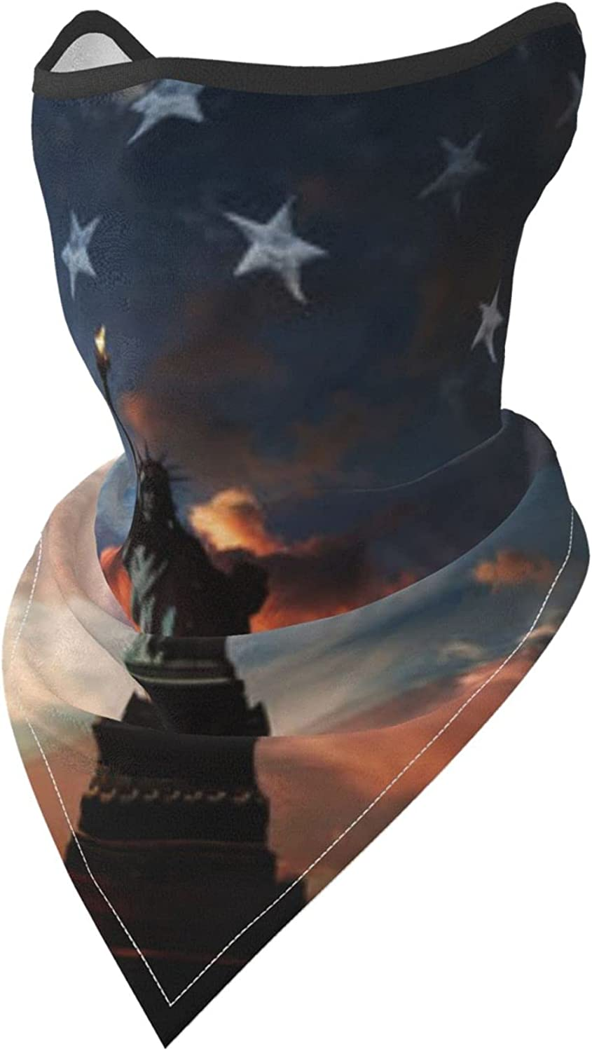Statue of Liberty wth American Flag Picture Breathable Bandana Face Mask Neck Gaiter Windproof Sports Mask Scarf Headwear for Men Women Outdoor Hiking Cycling Running Motorcycling