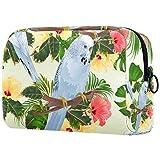 Bolsa de Maquillaje Organizador Pequeñas Bolsas de cosméticos para Mujeres Neceser de Viaje para baño Estuche de Maquillaje Monedero Bolso Pájaros Periquitos Mascotas Azules Periquitos