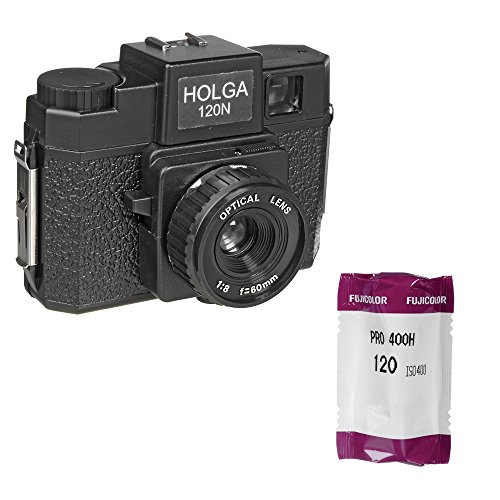 Holga 120N Medium Format Fixed Focus Camera with Lens with Fujifilm Fujicolor Pro 400H Color Negative Film, ISO 400, 120 Size