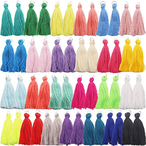 50PCS/25Pairs Handmade DIY Tassels Multicolored Mini Tassels for Earring Jewelry Making,DIY Craft Accessory (2 Inches)