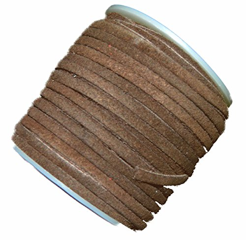 Brownl 4mm Flat Genuine Suede Lace Leather Cord 25 Yard Spool 4x1.5mm