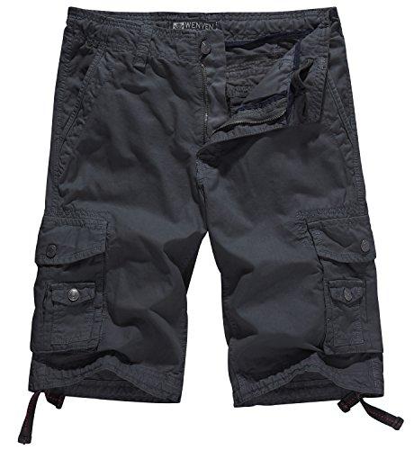 WenVen Men's Cotton Twill Cargo Shorts Outdoor Wear Lightweight (No.4 Charcoal, 38)