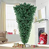 AerWo 7ft Upside Down Artificial Christmas Tree with Metal Stand, Green Artificial Pine Tree 1100 Tips Xmas Tree for Indoor Outdoor Holiday Christmas Decorations
