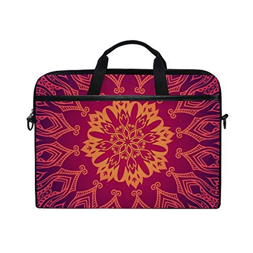 EZIOLY Purple Lace Floral Laptop Shoulder Messenger Bag Case Sleeve for 13 Inch to 14 inch Laptop