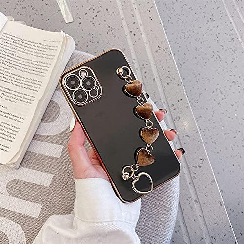 DEIOKL Estuche para teléfono con Pulsera de Lujo Electroplate Plush Love Heart para iPhone 11 12 Pro MAX X XS XR 7 8 Plus Funda Blanda para Samsung, Negro, para Samsung S10 Plus