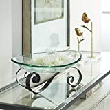 Iron Scroll Stand with Oval Glass Bowl - Kensington Hill