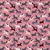 Die Stofftante Baumwoll Jersey Pferde, Altrosa 50 x 150 cm